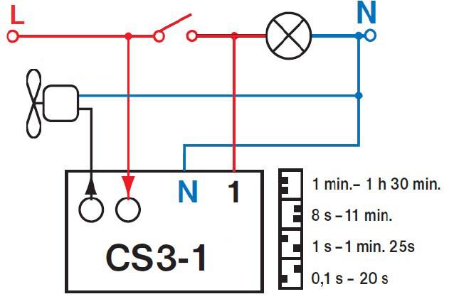 Zeitschalter für Ventilatoren Unterputz WC Bad Nachlauf-relais CS3 - 1